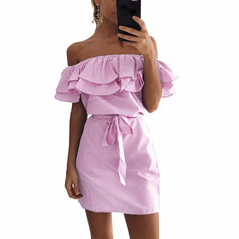 2018 Summer Casual Off Shoulder Striped Mini Dress Fashion ...
