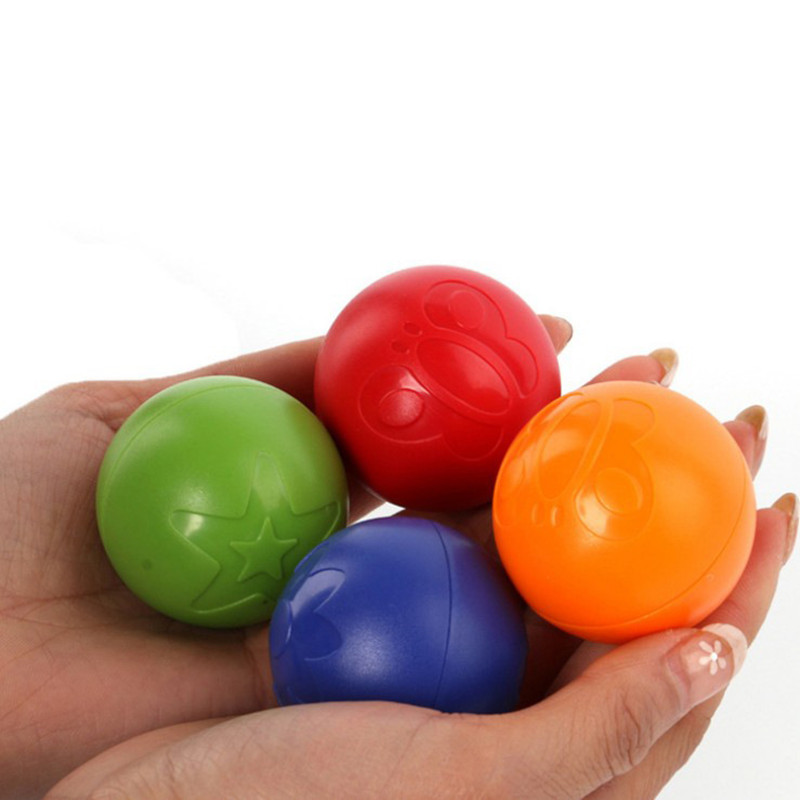 4pcs/lot Eco-friendly Colorful Bouncing Ball Toys For Baby Rattles Grasping Ball Educational Outdoor Sport Toy For Infant Kids