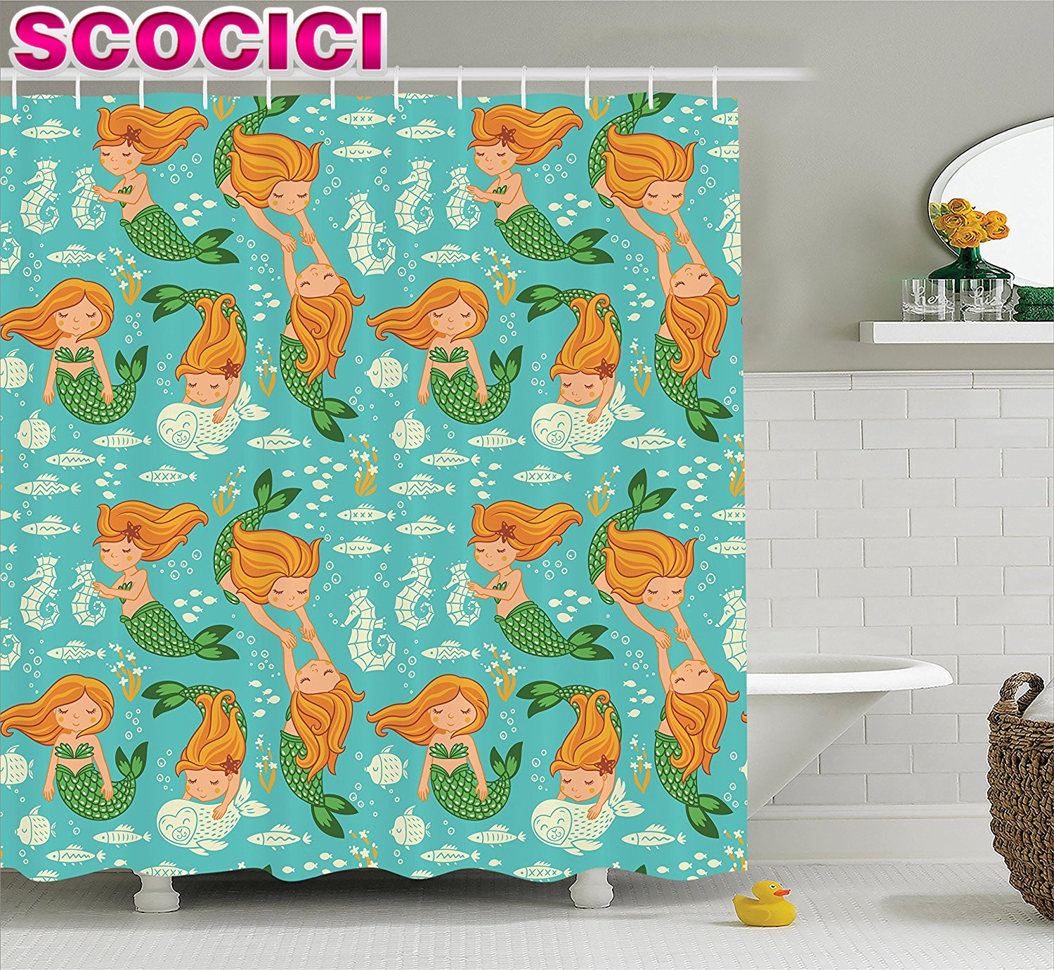 Mermaid Decor Shower Curtain Set Underwater Cartoon World Little Mermaid Girls Friends Seahorse Fish Shells Bathroom Accessories