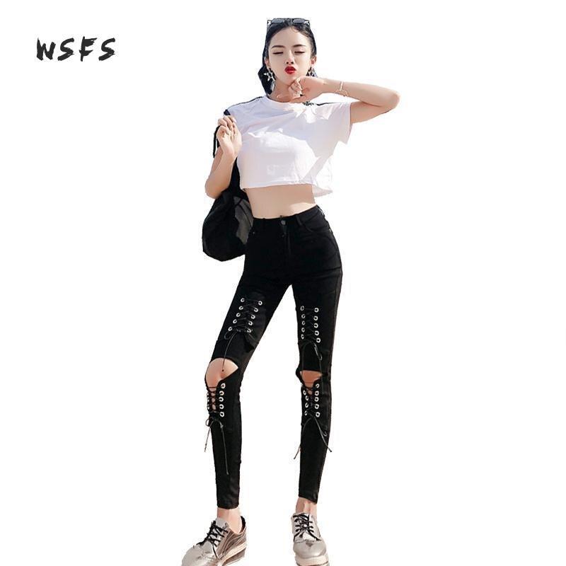 Ensemble 2 pièces été t-shirt blanc à col rond Crop hauts noir à lacets crayon noir Denim Jeans pantalon Bandage femmes Sexy robes de fête