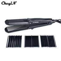 100 240V Professional Interchangeable 4 In 1 Ceramic Hair Crimper Straightener Corn Waver Corrugated Iron Plate