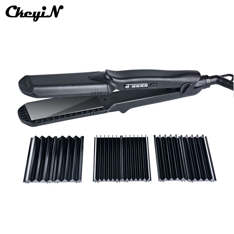 100-240V Professional Interchangeable 4 in 1 Ceramic Hair Crimper Straightener Corn Waver Corrugated Iron Plate with Glove