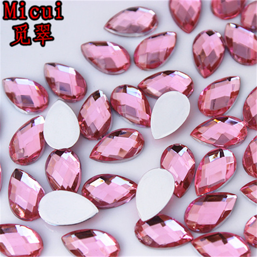 100PCS 8*13mm Drop Acrylic Rhinestones Crystal FlatBack beads No Hole ZZ716