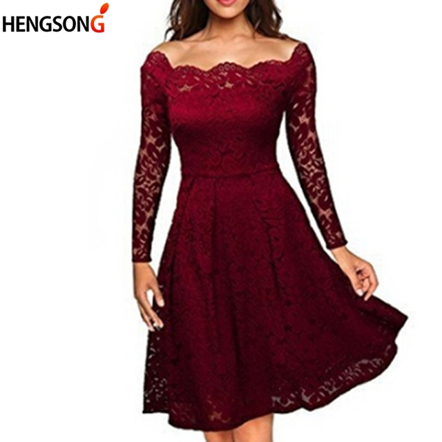 Women Floral Lace Dress 2018 Spring Summer Slim Ladies Dress Long Sleeve  Sexy Hollow Black Lace Dress Vestidos Women Clothing