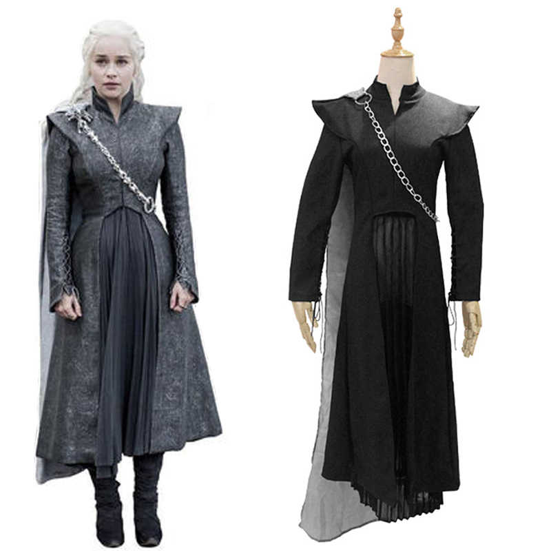 Game of Thrones Daenerys Targaryen Cosplay Costume Black Suit Outfit Cloak Skirts Women Mother of Dragons Halloween Accessories