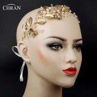 Chran Faux Pearl Wedding Crown Tiaras Bridal Gold Color Leaf Hair Vine Halo Headband Boho Headpiece