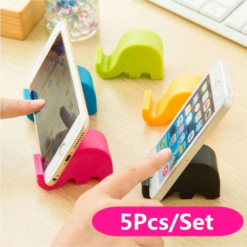 5Pcs Cute Elephant Mobile Phone Holder Fresh Candy Color Multi-Function Fixed Seat Bracket Desktop Storage Rack Hot Sale