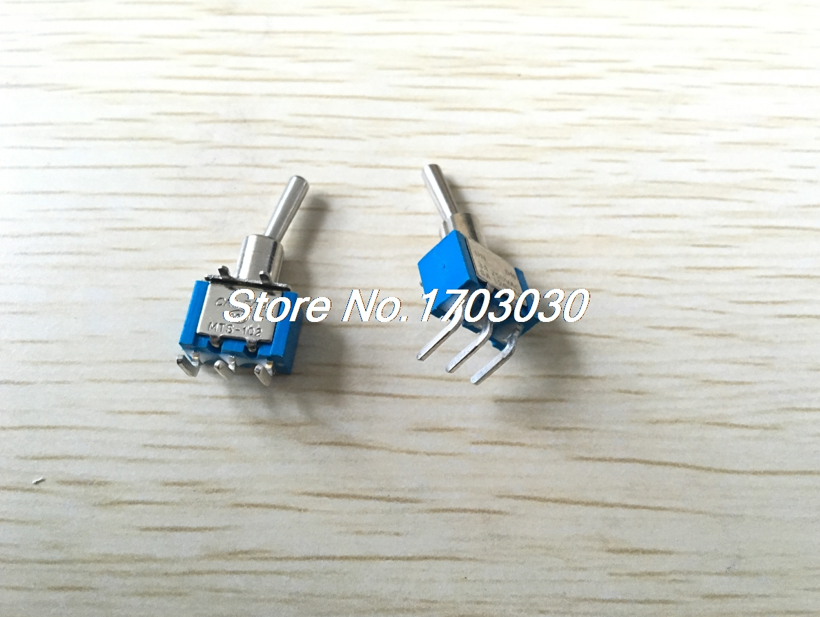 10 Pcs 3A/250VAC on/on 2 Way SPDT Right Angle 3 Pins PCB Mount Toggle Switch kn3d 103 ac 12v 25a 3 pins on off on 3 ways 1p2t spdt toggle switch replacement