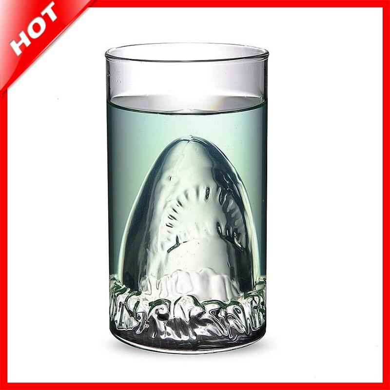 Hot Sale Transparent Glass Travel Coffee Mug <font><b>Shark</b></font> Tea Beer Water <font><b>Cup</b></font> Bottle Funny Christmas Mugs Adult Kids Gifts Espresso <font><b>Cups</b></font>