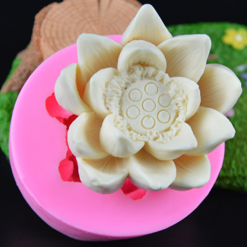 New Lotus Dragonfly Flower Soap Mold Silicone Molds Candle Mould Diy