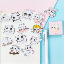 45 Pieces/Piece Kawaii Cute Cat Decorative Glue Stickers DIY Cartoon Diary Decoration Scrapbooking Writing Stickers Sealing Past(China)