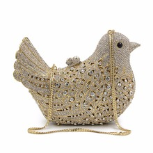 NATASSIE Women Bird Shape Evening Bags Ladies Crystal Party Clutches Bag Female Wedding Diamonds Purses