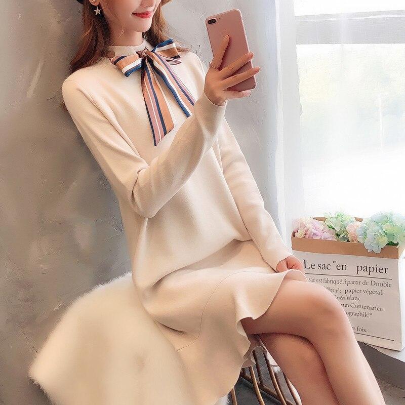 De 9950 Bowknot 63 Nueva 2018 Otoño Suéter Versión La Punto Coreana drrq7f