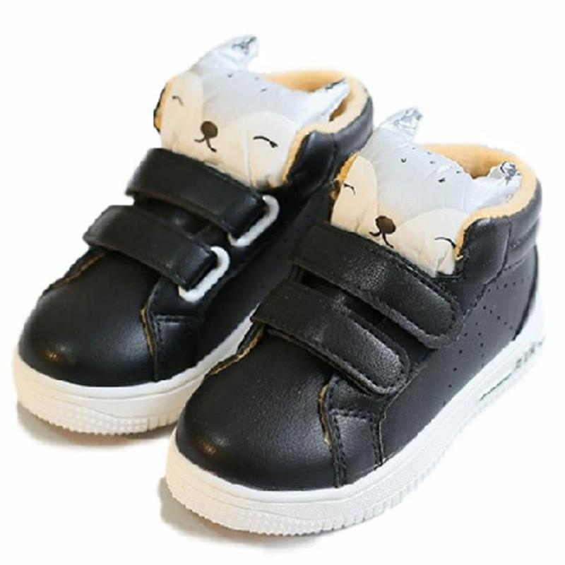 2016 New Autumn Winter Boys Girls Kids PU Leather Casual Shoes Children Warm Sneakers Cartoon Fox Flats Shoes Kid Ankle Footwear