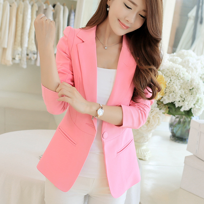 New spring and summer Korean women Slim short paragraph small suit lady jacket wild solid color casual suit ...