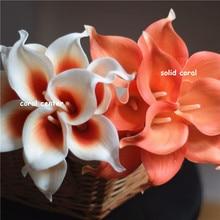 Coral Real TOUCH Calla ลิลลี่งาช้างสีขาว Callas สำหรับผ้าไหมแต่งงานเจ้าสาวช่อดอกไม้เพื่อนเจ้าสาว Bouquets Centerpieces ตาราง 20pcs