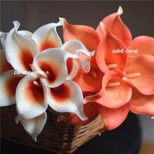 Korallen Real Touch Calla Lilien Elfenbein Weiß Callas für Seide Hochzeit Braut Bouquets Brautjungfern Bouquets Tisch Mittelstücke 20 stücke