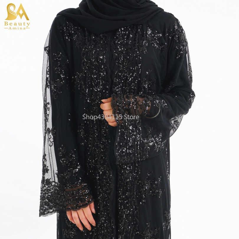 Взрослый мусульманский кружевной расшитый блестками кардиган с бисером абайя Мода Дубай исламский красивый абайя молитвенная служба одежда Прямая поставка