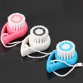 3 Pic New Soft Mild Facial Deep Cleaning Exfoliating Fiber Pore Cleanser Brushes Face Skin Care Brush Head Pink White Blue Safe