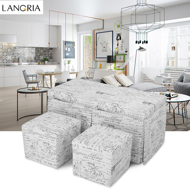 LANGRIA 3-Piece French Script Patterned Fabric Storage