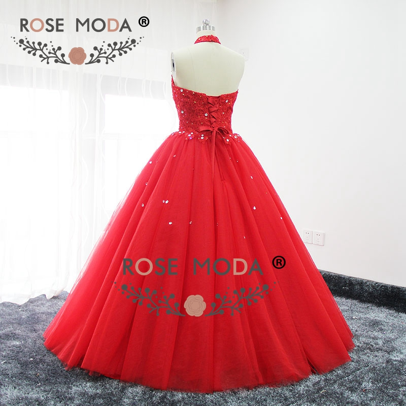 Rose moda red halter puffy prom dress bling kristall formale party dress lace up zurück real bilder - 4