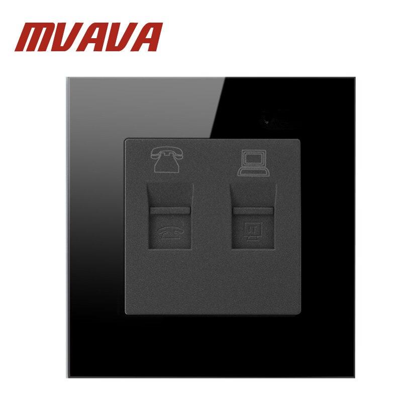 MVAVA Frete Grátis Luxo TEL & PC Soquete Do Painel Tomada de Parede de Vidro de Cristal Preto Poder Tomada Elétrica Plug 110 ~ 250 V