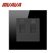 купить Free Shipping, Mvava Luxury Wall Socket Panel, TEL & PC Socket, Black crystal glass, Power Electrical Outlet, Plug, 110~250V дешево