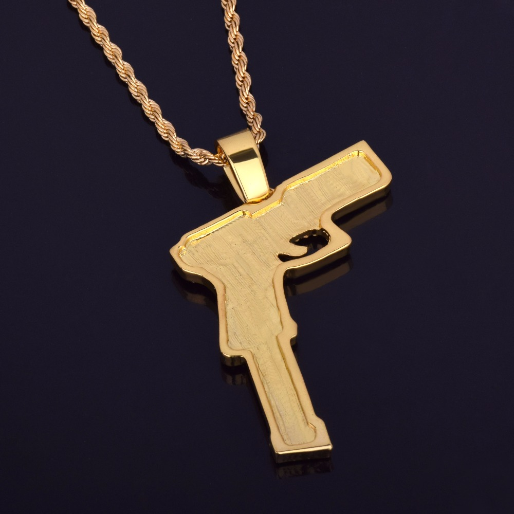 Rifle Hand Gun Pendant   Necklace Bling Bling Iced Out Rhinestone Rock Punk  Style Gold Silver Color Men  Hip Hop Jewelry Gift-in Chain Necklaces from  ... 2dcdf1807bde