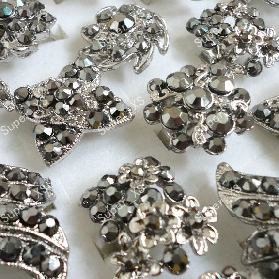 80pcs wholesale lots jewelry ring fashion vintage Rhinestone silver plated rings Antique free shipping BL108