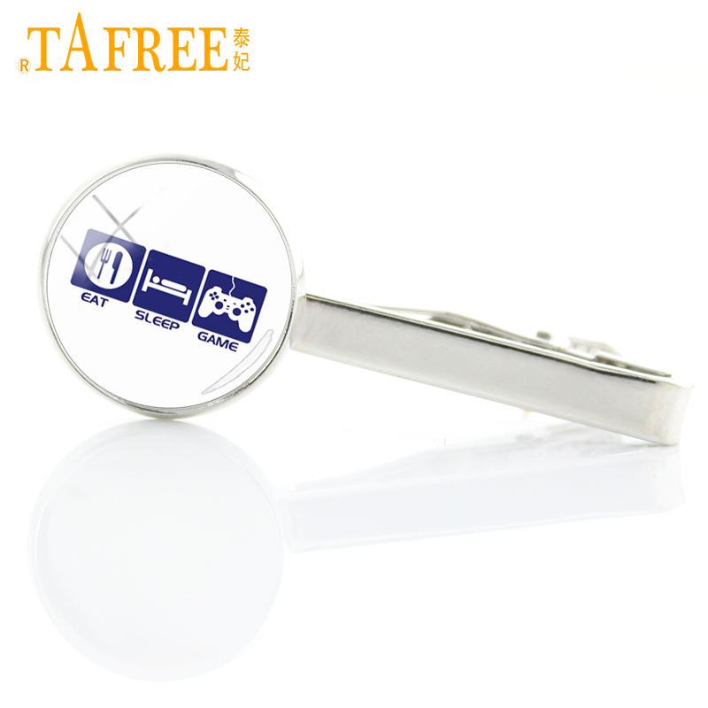 TAFREE Simple Comfortable Life Tie Clips Video Game Controller tie bar eat sleep game classic glass high quality jewelry H632