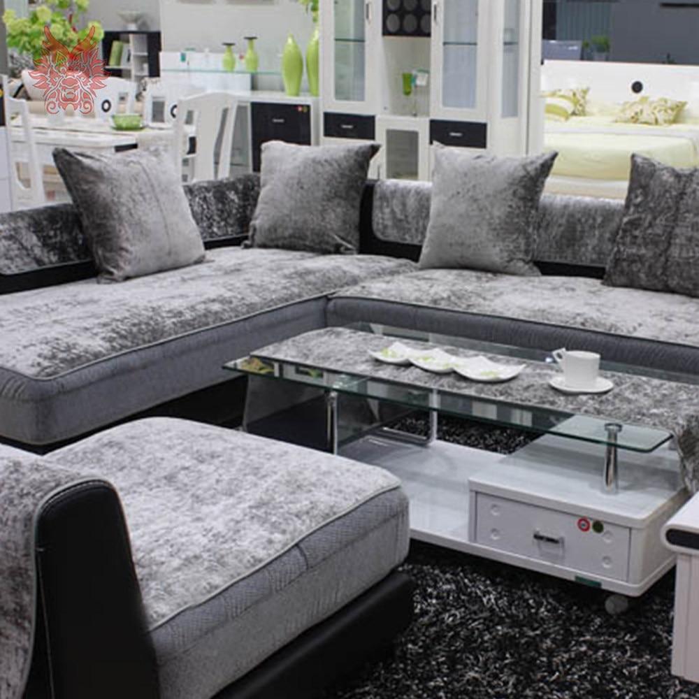 Elegant Sofa Möbel Foto Von Europäischen Stil Grau Schwarz Blau Samt Abdeckung