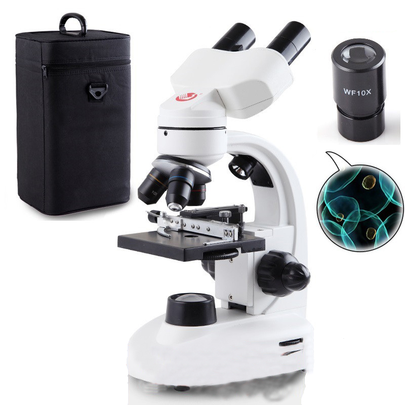 Professional optical microscope biological experiment 40X-1600X high-powered portable electronic sperm binocular microscope 40x 1600x digital usb video dural binocular microscope with halogen lamp txs06 02dn