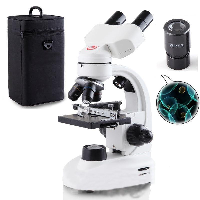 Professionale microscopio ottico esperimento biologico 40X-1600X portatile ad alta potenza elettronico sperma microscopio binoculare