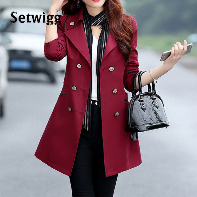 SETWIGG Women Spring Long Trench Coat Solid Candy Color Double-breasted Collar Slim Long Trench Autumn Outerwear Coat