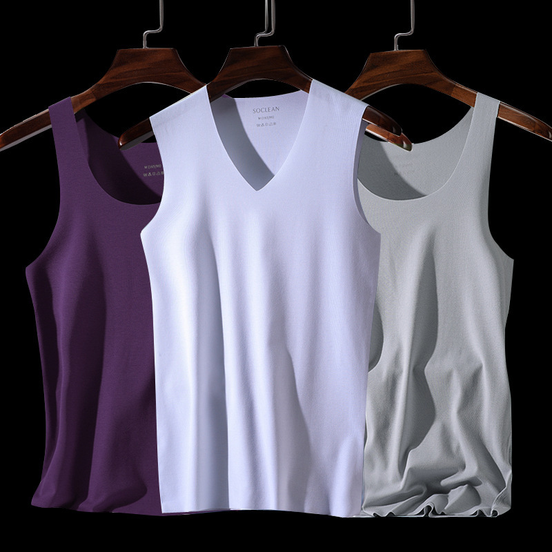 Latest Version V-neck Breathable Absorb Sweat One-piece Sports Men Vest Ice Silk Seamless High Elasticity Close-fitting   Tank     Top