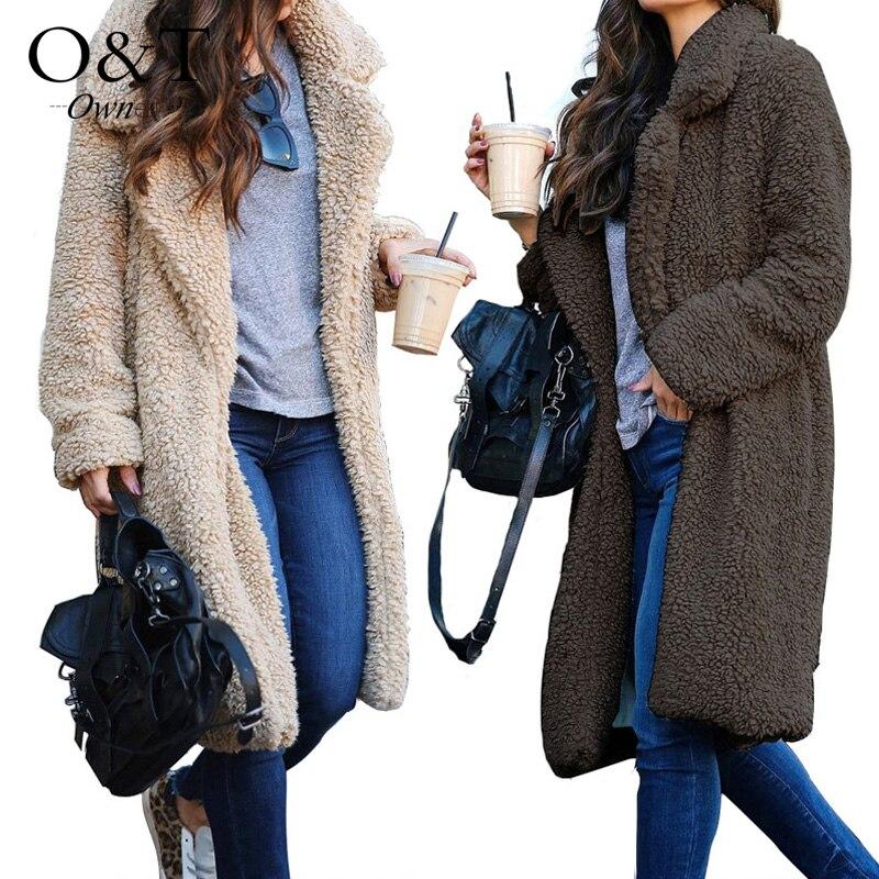 Women Faux Fur Teddy Coat Autumn Winter font b Jacket b font Overcoat Warm Fluffy Long