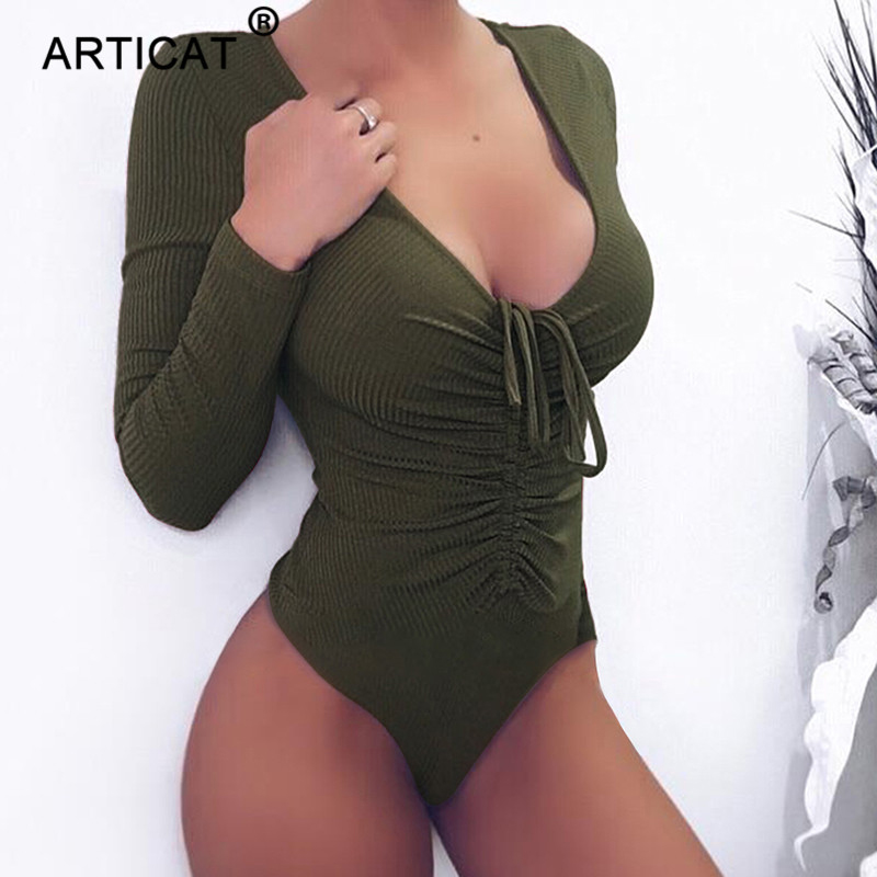 Articat Deep V Neck Knitted Sexy Bodysuit Women Long Sleeve Autumn Bodycon Rompers Womens Jumpsuit Casual Basic Bandage Tops
