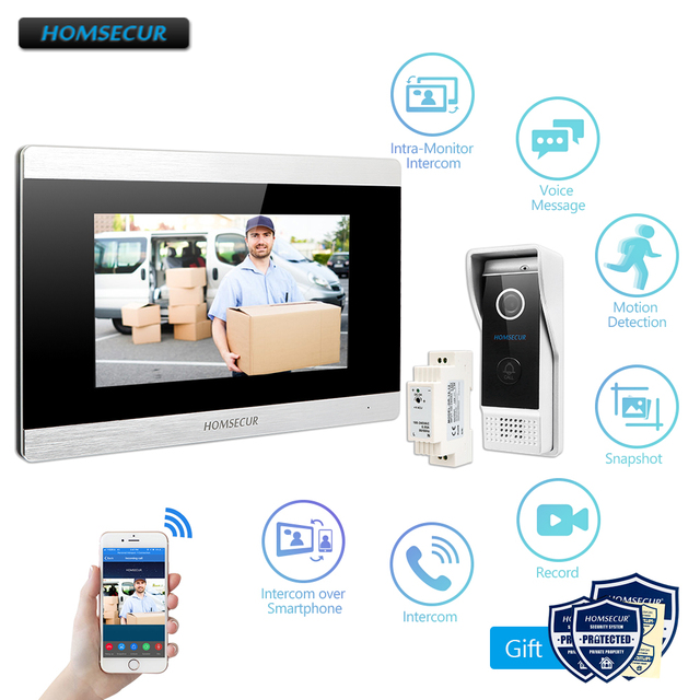 "HOMSECUR 7 ""WiFi IP Wired וידאו דלת כניסת אבטחת אינטרקום 1.0MP עם זיכרון צג עבור אבטחה בבית"