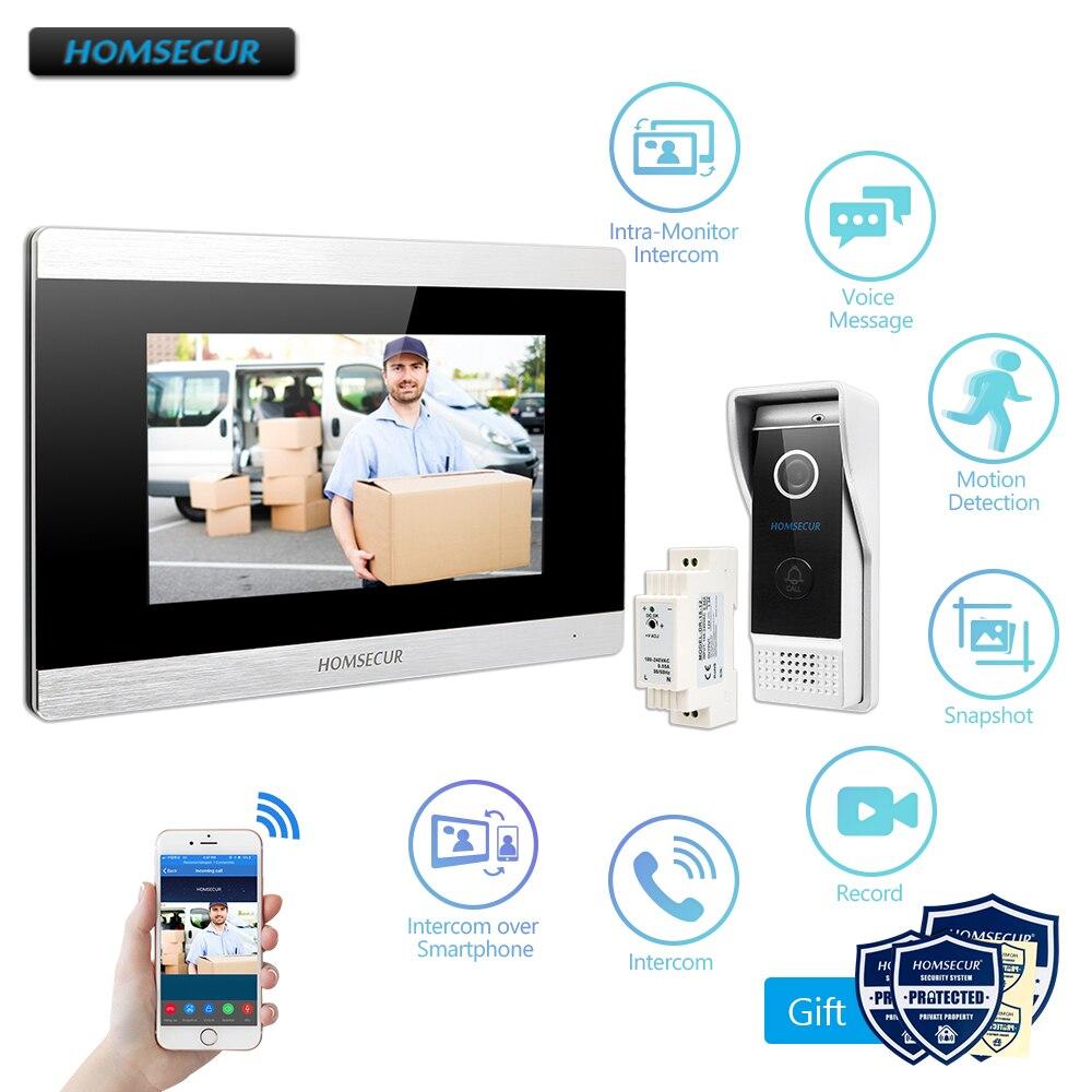 HOMSECUR 7 WiFi IP câblé interphone vidéo de sécurité d'entrée de porte 1.0MP avec moniteur de mémoire pour la sécurité à la maison