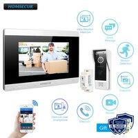 """Homsecur 7 """"wifi ip com fio de vídeo porta entrada segurança intercom 1.0mp com monitor memória para segurança em casa Interfone com câmera     -"""