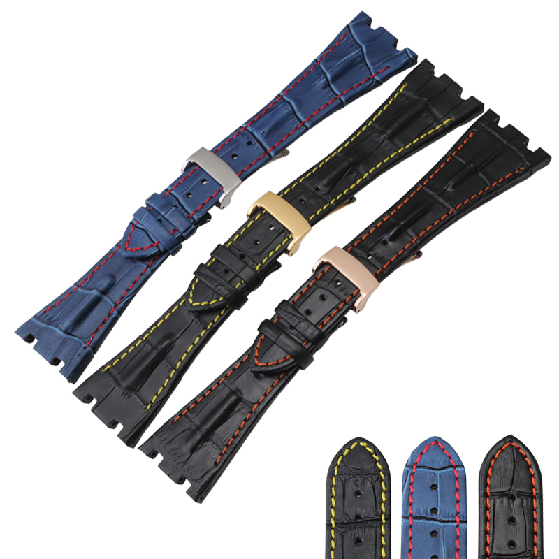 Free Shipping 28 mm Fit For Audemars Genuine Cowhide Leather Strap Band + Folding Clasp For AP for Piguet
