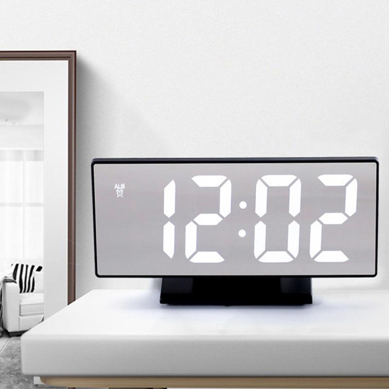HD LED Multifunction Clock USB Port Large Screen  Silent Mirror Alarm Home Decor Bedroom Desk Night display