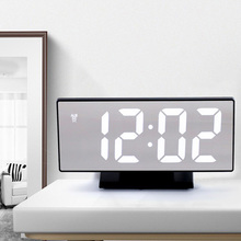 HD LED Multifunction Clock USB Port Large Screen  Silent Mirror Alarm Home Decor Bedroom Desk Night display