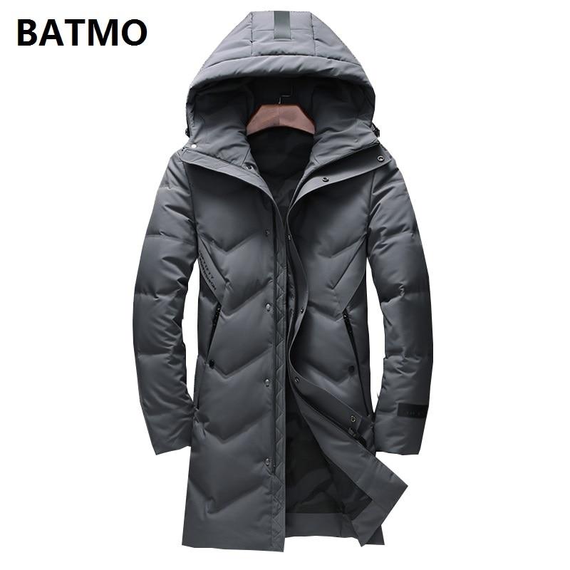 BATMO 2018 new winter high quality 90% white duck   down   long hooded jackets men,men's Long parka, warm   coat   plus-size 9004