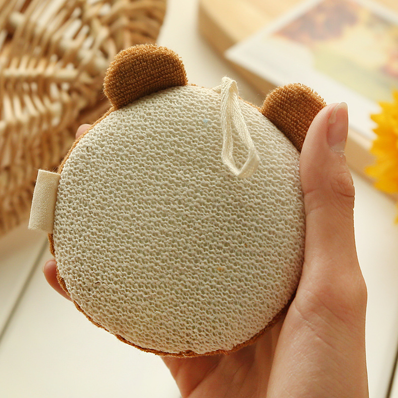 Cotton Baby Bath Brush Cartoon Soft Baby Bath Sponge Powder Puff ...