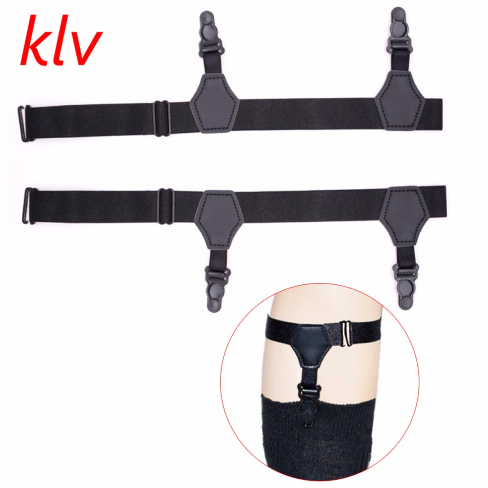 2pcs/set Unisex Socks Garters Belt Suspenders Adjustable Non-slip Double Clips Men's Accessories