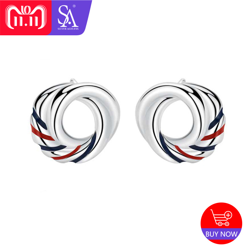 SILVER AGELESS Real 925 Sterling Silver Original Design Europa Stud Earrings For Women Red/Blue Stripe Round Love Knots Earrings tl love heart earrings for women stainless steel silver hot earrings simple design open cross earrings
