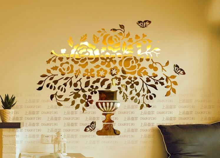 Vase doré de fleurs cristal acrylique miroir Stickers muraux entrée décoration de la maison bricolage 3d Stickers muraux