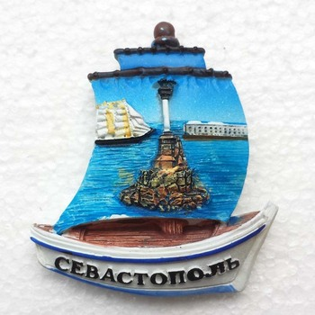 Creative Sailing Shaped Sevastopol Crimea Russia Tourist Travel Souvenir 3D Resin Fridge Magnet Craft Home Decorations image