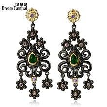 DreamCarnival 1989 Ethnic Flowers Tassel Earrings for Women Vintage Green CZ Dangle Party Jewelry Drop pendientes aros oorringen